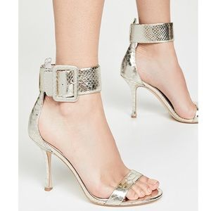 NWT Alice + Olivia Dolora Metallic Croco Sandal